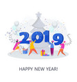 group of people decorate the figures of 2019 vector image vector image