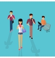 Group of People with Gadgets Design Flat vector image