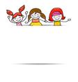 happy girls blank paper vector image