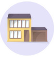 house with garage flat building vector image vector image