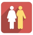 Human Couple Flat Rounded Square Icon with Long vector image vector image