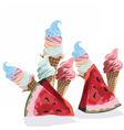 Ice cream cones colorful pattern vector image vector image