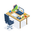 isometric office workspace freelance or coworking vector image