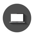 laptop with white screen flat icon computer vector image vector image