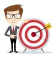 Lucky businessman at the target vector image vector image