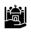 mosque on hand ramadan related solid icon vector image vector image
