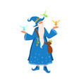 old gray haired mage with beard holding flying vector image vector image