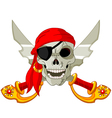 pirate skull and crossed sables vector image vector image