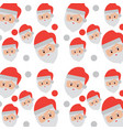 seamless pattern face santa claus snow falling vector image