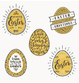 set eggs with easter greeting type design vector image vector image