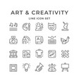 set line icons art and creativity vector image vector image