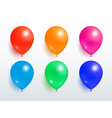 set of flying balloons red orange pink blue green vector image