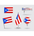 Set of Puerto-Rican pin icon and map pointer vector image vector image
