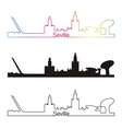 Seville skyline linear style with rainbow vector image vector image