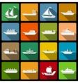 Ship and boats icons set flat vector image vector image