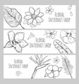 sketch floral internet shop horizontal banners vector image vector image