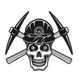 skull dead miner in protective helmet and two vector image vector image