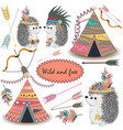 tribal collections set with teepee tens arrows vector image