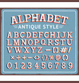 vintage retro tin sign with creative alphabet vector image vector image