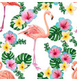 watercolor bright flamingo pattern and tropical vector image vector image
