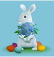 white easter bunny holding bouquet flowers of vector image
