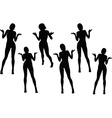 woman silhouette with hand gesture hands open vector image vector image