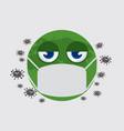 world emoji medical mask outbreak virus vector image vector image