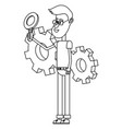 young people and technical support black and white vector image
