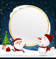 christmas snowman santa claus and reindeer vector image