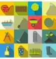 16 garden flat icons set vector image