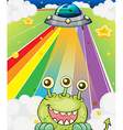 A three-eyed monster near a spaceship vector image