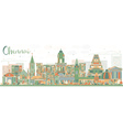 Abstract Chennai Skyline with Color Landmarks vector image vector image