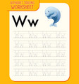 alphabet tracing worksheet with letter w and w vector image vector image