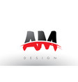 am a m brush logo letters with red and black vector image vector image