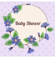 Baby shower with round floral banner vintage blue vector image