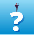 businessman and question mark future decision vector image