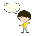 cartoon happy boy with speech bubble vector image vector image