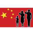 China soldier family salute vector image vector image