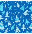 Christmas tree seamless pattern Flat design vector image vector image