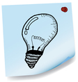 drawing of light bulb on sticky paper vector image vector image