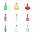 emprty bottle icons set cartoon style vector image vector image