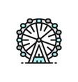 ferris wheel london eye flat color line icon vector image vector image