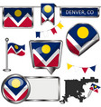 glossy icons with flag of denver co vector image vector image
