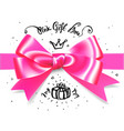 gold pink glamour gift bow bow for little vector image