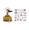 happy travel set cute cartoon girl and suitcases vector image