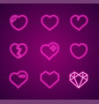 heart neon signs thin line icon set vector image vector image