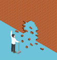 Isometric businessman use hammer breaking the wall vector image vector image