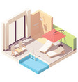 isometric outdoor pool lounge vector image vector image