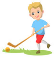 kid playing grass hockey game in summer vector image vector image