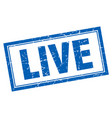 live blue square grunge stamp on white vector image vector image